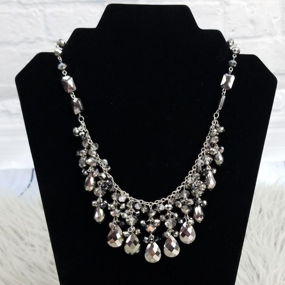 White House Black Market Jewelry - White House Black Market Silver Gray Bib Necklace